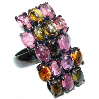 Natural Watermelon Tourmaline black rhodium over .925 Sterling Silver Statement ring size 8