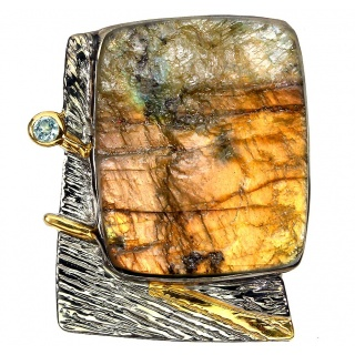 Golden Rough Fire Labradorite 18K Gold over .925 Sterling Silver handcrafted Pendant Brooch