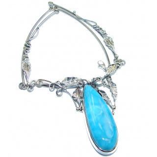 Great large Vintage style Masterpiece genuine Larimar .925 Sterling Silver handmade necklace