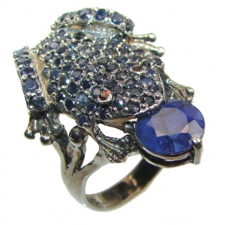 Large Frog Genuine Sapphire black rhodium over .925 Sterling Silver handcrafted Statement Ring size 9
