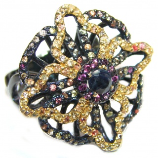 Large Genuine Sapphire Black rhodium over .925 Sterling Silver handcrafted Statement Ring size 8