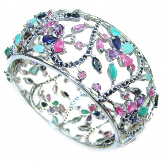 One of the kind authentic Multigem .925 Sterling Silver handmade bangle LARGE Bracelet