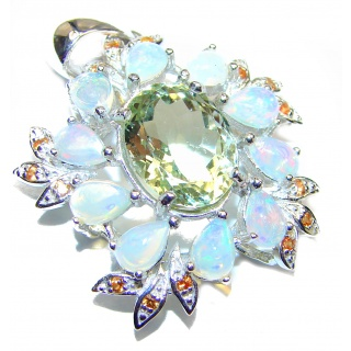 Amazing Green Amethyst Ethiopian Opal .925 Sterling Silver handcrafted pendant