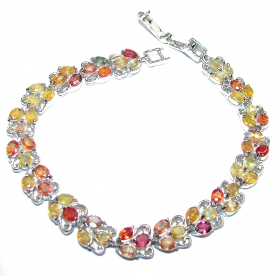 Authentic muklticolor Sapphire .925 Sterling Silver handcrafted Bracelet