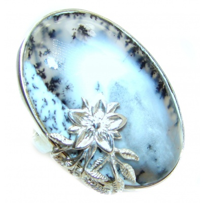 Top Quality Dendritic Agate .925 Sterling Silver hancrafted Ring s. 8
