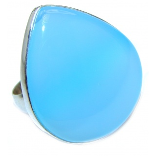 Huge Blue Chalcedony Agate .925 Sterling Silver handcrafted Ring s. 8 adjustable
