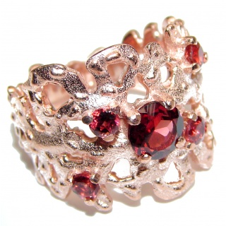 Red Reef Garnet 14K Gold over .925 Sterling Silver Ring size 7 1/4