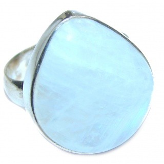 Rainbow Moonstone .925 Sterling Silver handmade Ring size 6 adjustable