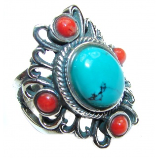 Natural Fossilized Coral & Turquoise .925 Sterling Silver handmade ring s. 8