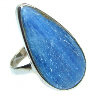 Huge Natural 16ct Kyanite .925 Sterling Silver handcrafted ring size 8