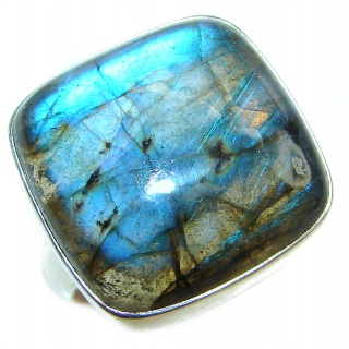 Huge Silky Fire Labradorite .925 Sterling Silver Bali handmade ring size 8 adjustable