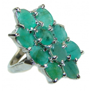 Posh Genuine Colombian Emerald .925 Sterling Silver handcrafted Statement Ring size 8