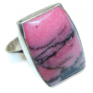 Perfect Rhodonite .925 Sterling Silver handmade Ring s. 7 adjustable