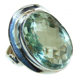 Chunky Green Amethyst .925 Sterling Silver handcrafted ring s. 7 1/2