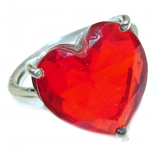 Sweet Heart Red Topaz .925 Silver handcrafted Ring s. 7 1/4