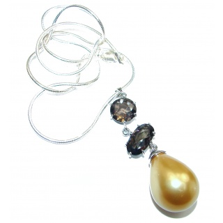 CHic Style Golden Pearl .925 Sterling Silver handmade necklace
