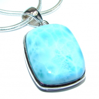 Best quality authentic Larimar .925 Sterling Silver handmade necklace