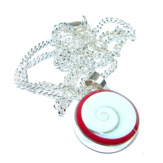 Protective Shield Red Ocean Shell .925 Sterling Silver necklace