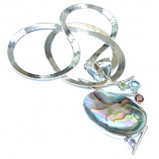 Fashion Mozaic Rainbow Abalone .925 Sterling Silver Necklace