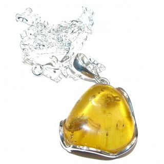 Pressed Amber .925 Sterling Silver handcrafted necklace