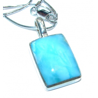 Best quality authentic inlay Larimar .925 Sterling Silver handmade necklace