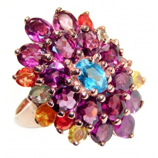 Dazzling natural Red Garnet & Rose Gold over .925 Sterling Silver handcrafted ring size 7 3/4