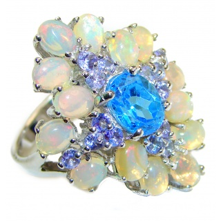 Fancy Ethiopian Opal Swiss Blue Topaz .925 Sterling Silver handcrafted ring size 8 1/2