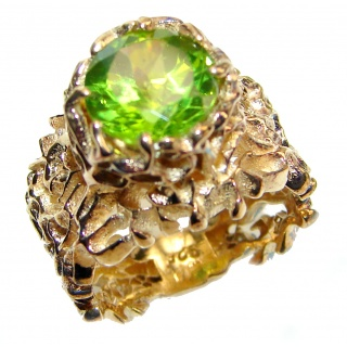 Dramatic Design genuine Peridot 14K Gold over .925 Sterling Silver handmade Cocktail Ring s. 5 3/4