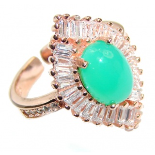 Good Energy Chrysoprase .925 Sterling Silver Ring s. 6 adjustable