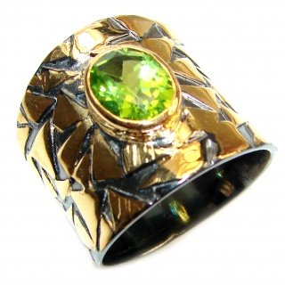 Energizing genuine Peridot 18K Gold over .925 Sterling Silver handcrafted Ring size 8