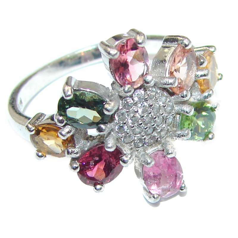 Dazzling natural Tourmaline & .925 Sterling Silver handcrafted ring size 7