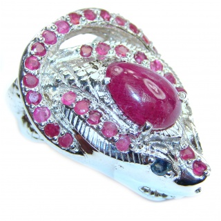 Large Cobra gebuine Ruby .925 Sterling Silver handcrafted Statement Ring size 9 1/2