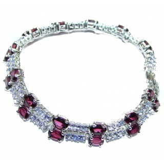 Fancy Style Authentic Garnet Tanzanite .925 Sterling Silver handcrafted Bracelet