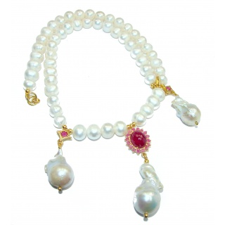 Tsarist heirloom Pearl & Natural Ruby 4K Gold over .925 Sterling Silver handmade Necklace