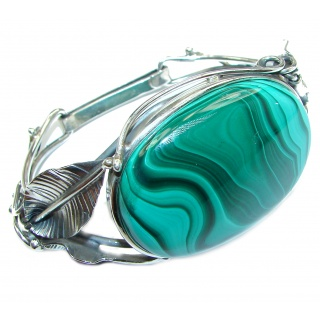 Eternal Paradise 66.9 grams Natural Malachite highly polished .925 Sterling Silver handcrafted Bracelet