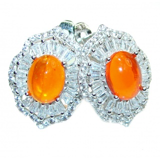 Dazzling natural Mexican Precious Fire Opal .925 handcrafted earrings