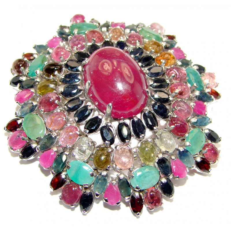 Sapphire Emerald Vintage - Sterling Silver 925 Brooch with Ruby Italy