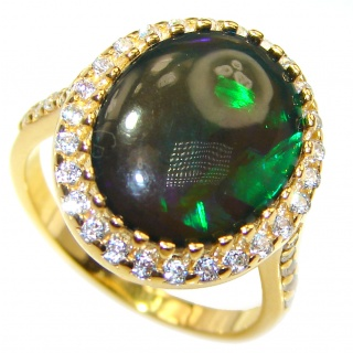 Vintage Design 2.5ctw Genuine Black Opal .925 Sterling Silver handmade Ring size 7