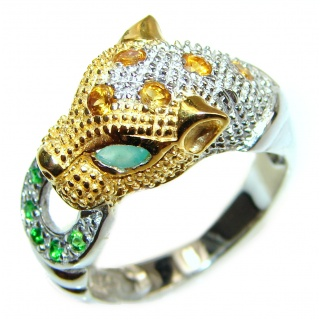 Cheetah authentic Ruby Emerald .925 Sterling Silver handmade Statement Ring s. 8