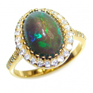Vintage Design 3.5ctw Genuine Black Opal 18K Gold over .925 Sterling Silver handmade Ring size 8