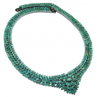 Huge Royal quality authentic colombian Emerald black rhodium over .925 Sterling Silver necklace