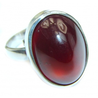 Sublime Garnet .925 Sterling Silver handmade Ring size 8 adjustable
