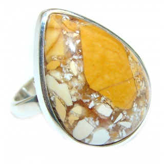 Australian Bracciated Mookaite Sterling Silver Ring size 7 adjustable