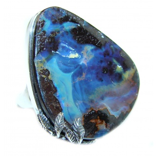 Australian Boulder Opal .925 Sterling Silver handcrafted ring size 8