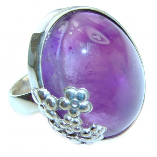 Massive 85ctw Purple Perfection Amethyst .925 Sterling Silver Ring size 8 adjustable