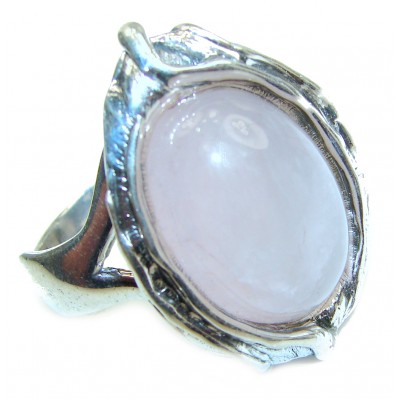 Rose Quartz Rose .925 Sterling Silver brilliantly handcrafted ring s. 8 adjustable