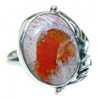 Positive Energy Orange Genuine Mexican Opal .925 Sterling Silver handmade Ring size 7 adjustable