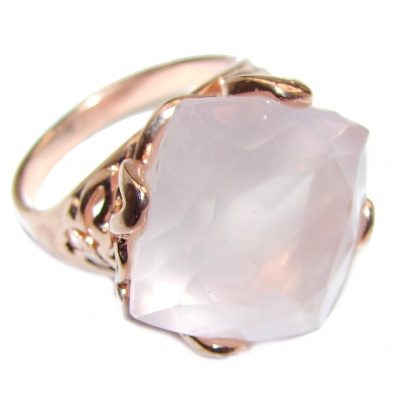 Princess Cut 15ctw Rose Quartz Rose Gold over .925 Sterling Silver brilliantly handcrafted ring s. 6 1/2
