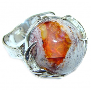 Positive Energy Orange Genuine Mexican Opal .925 Sterling Silver handmade Ring size 9