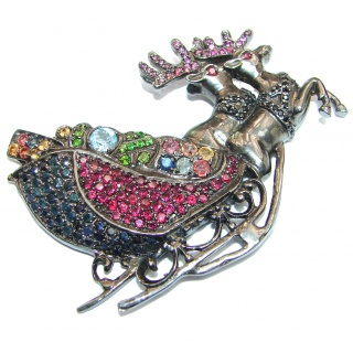 Christmas Joy genuine Ruby multicolor Sapphire black rhodium .925 Sterling Silver handmade LARGE Pendant - Brooch